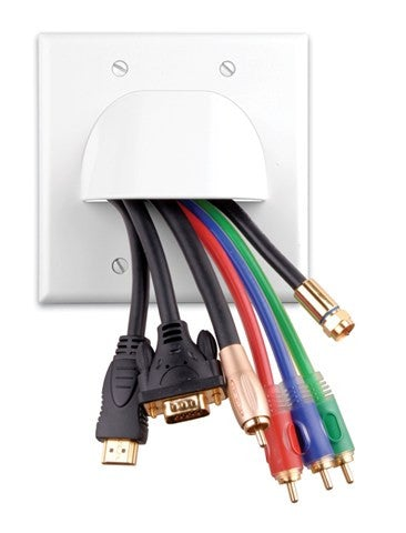 Custom Two-Piece Packaged Cable Wall Plates (Dual & Ivory) - PAM Distributing Co - 1