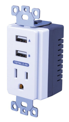 VANCO USBWP5V Dual USB In-Wall Charger with AC Outlet - PAM Distributing Co - 1
