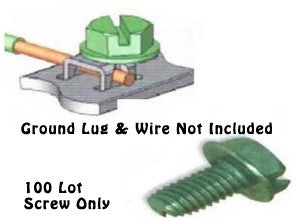 Ground Screw Green Self Tapping Steel (100 Lot) - PAM Distributing Co