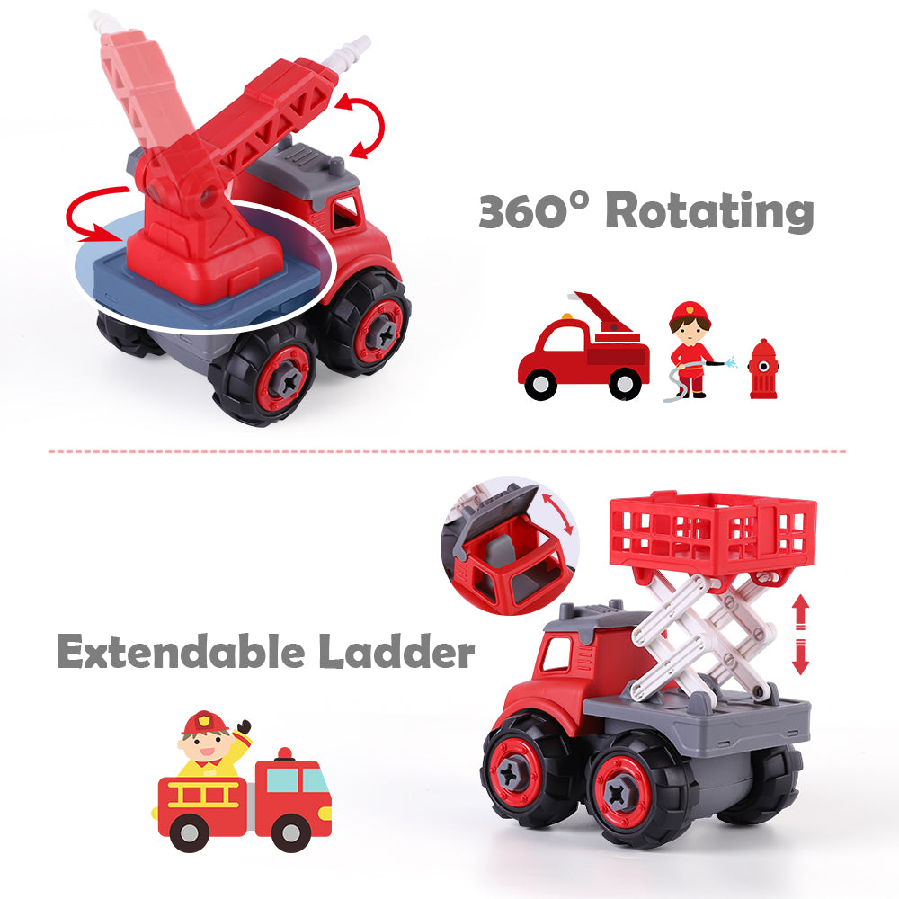 Take Apart Fire Trucks Assembly Toys Play Set with Screwdriver