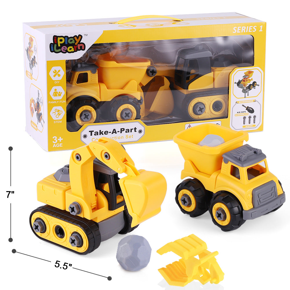Construction Vehicles Play Set Take Apart Truck Toy