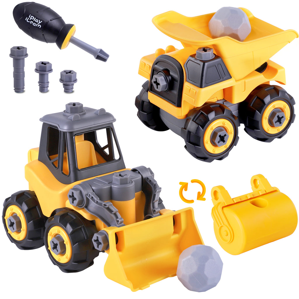 Construction Truck Toys Assembly Bulldozer Dump Truck with Screwdriver