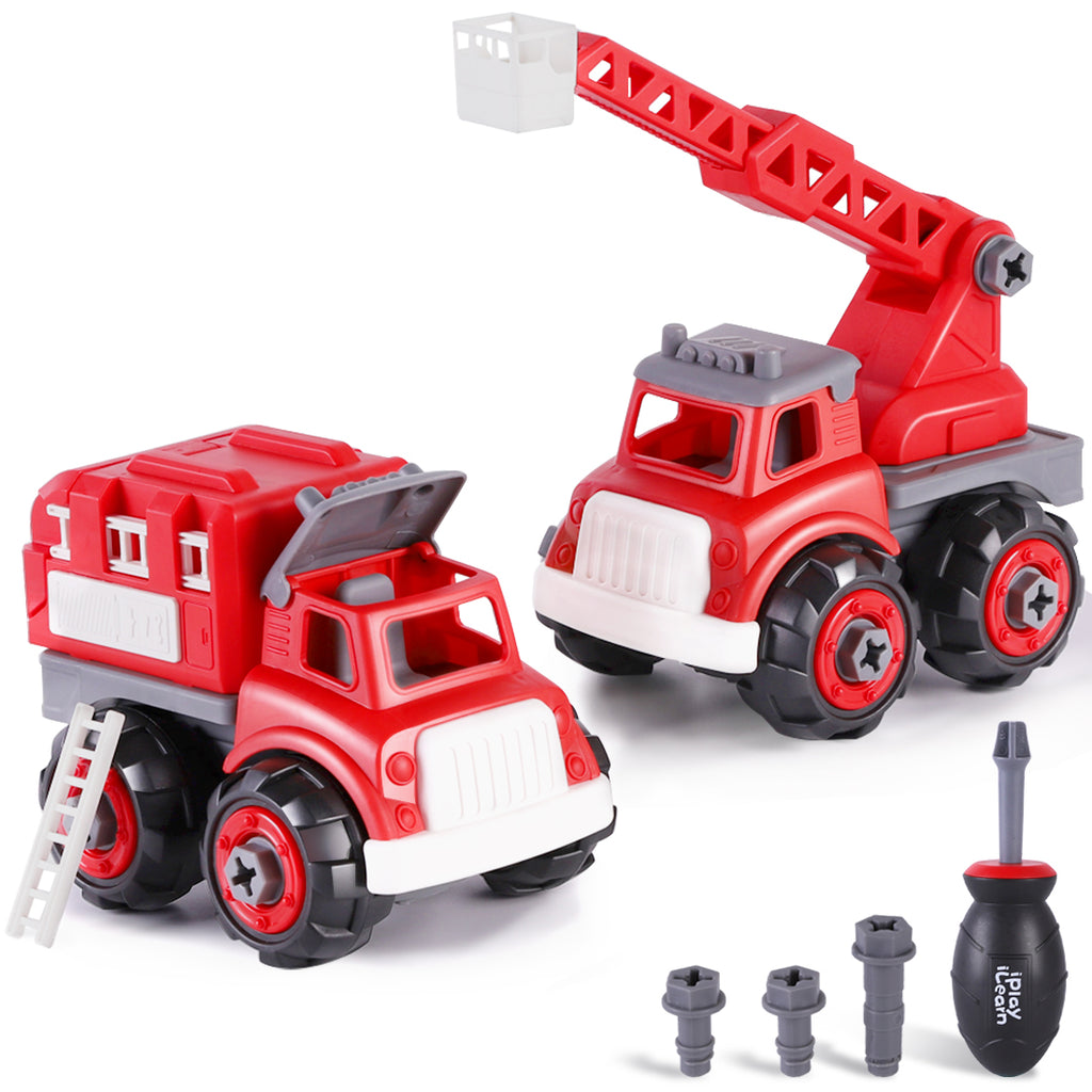 Kids Fire Engine Truck Toys Take Apart Assembly Play Set