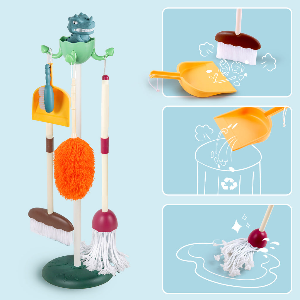 Kids Cleaning Toy Set Toddler Broom Mop Dustpan Playset