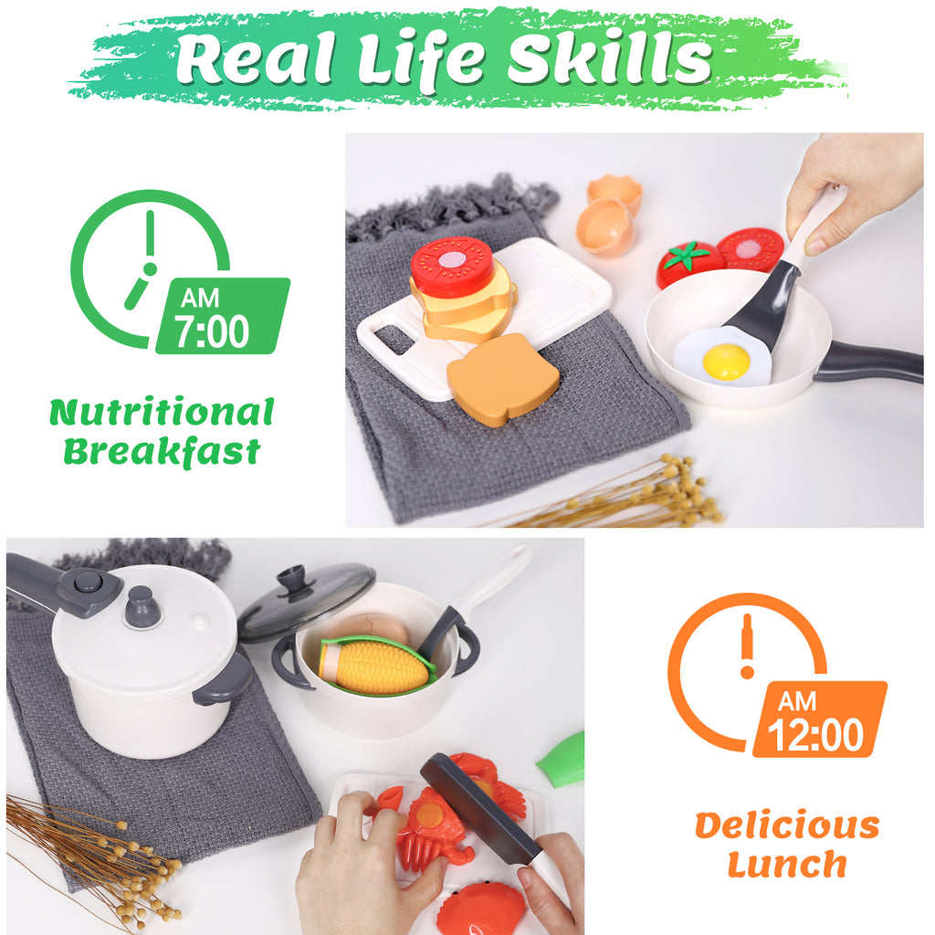 Kids Play Kitchen Pretend Play Cooking Toys Accessories Set