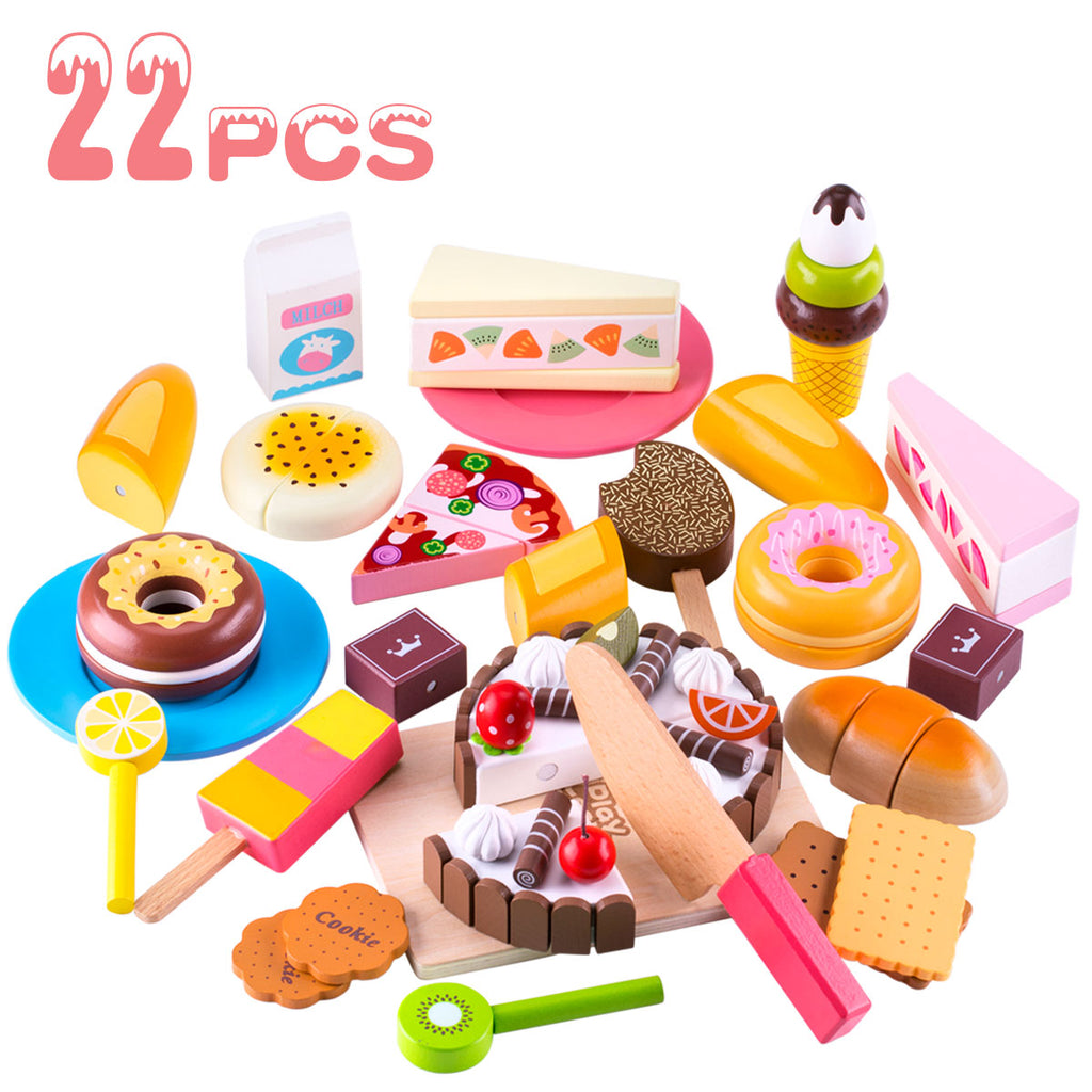 Wooden Dessert Cutting & Baker Food Set Pretend Birthday Cake Playset