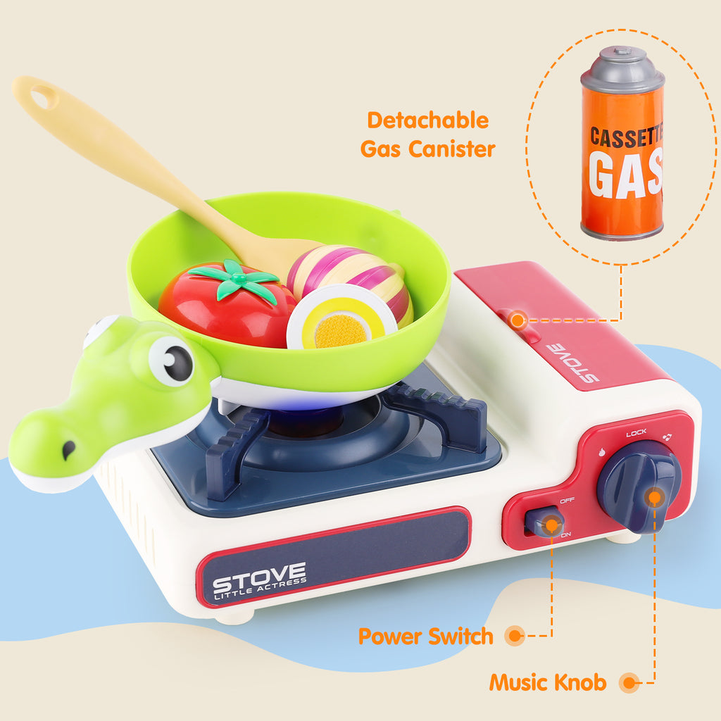 Kids Kitchen Cooking Toy Set Pretend Play Cookware Playset