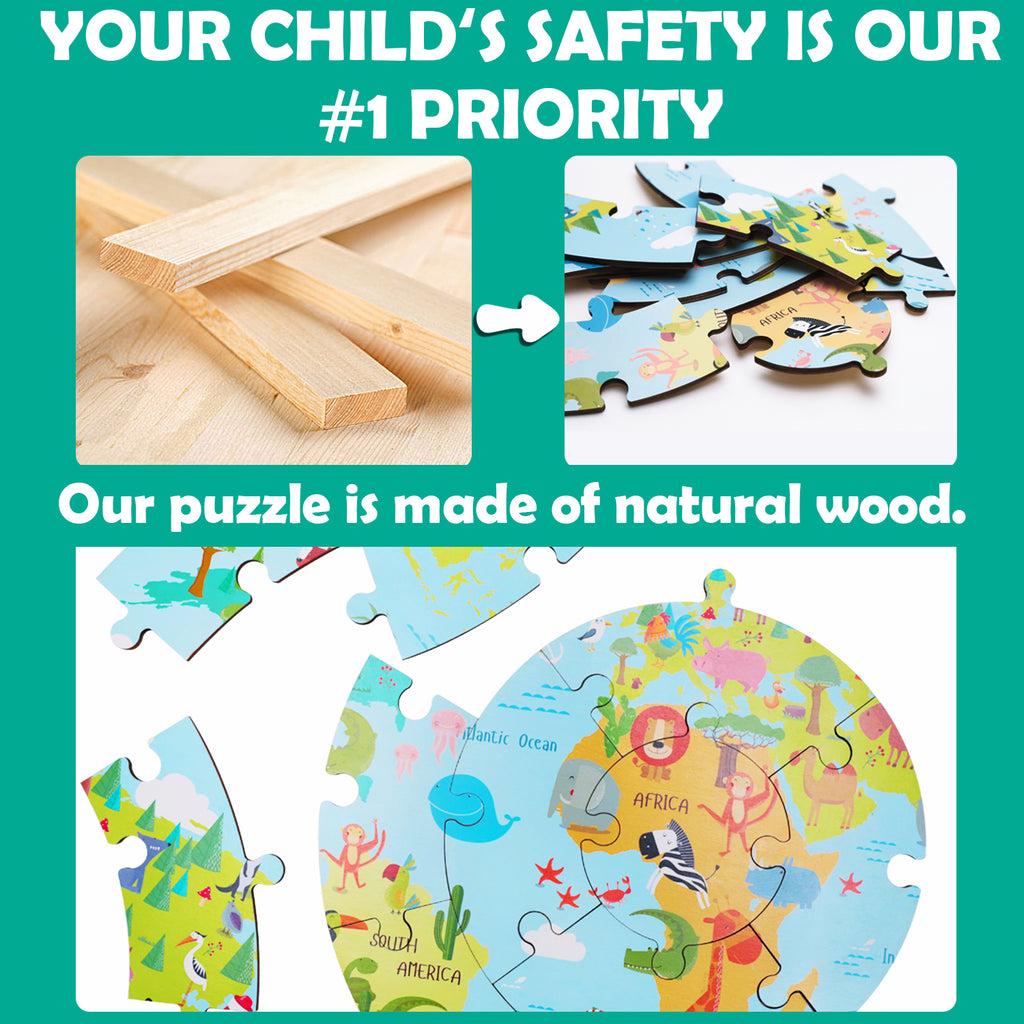Wooden Round World Map Jigsaw Puzzle Educational Toys