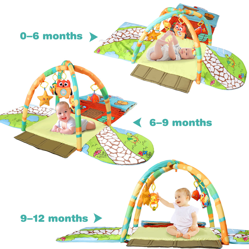 Baby Activity Gym Mat Infant  Indoor Playmat Hanging Rattle Toys