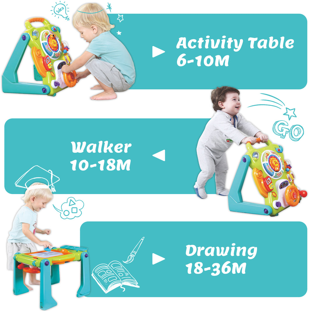 3 in 1 Baby Walker Sit to Stand Toys Musical Fun Table