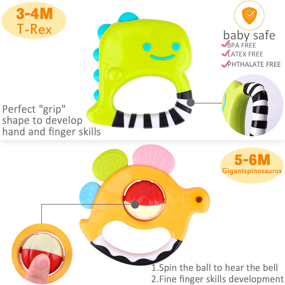 5 Pcs Dinosaur Baby Rattles Teething Sensory Toy