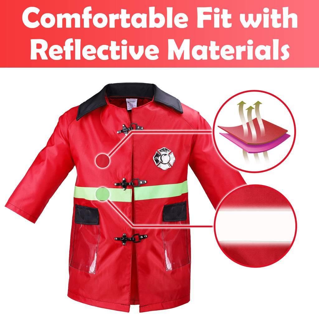 Kids Fireman Dress Up Set Pretend Role Play Firefighter