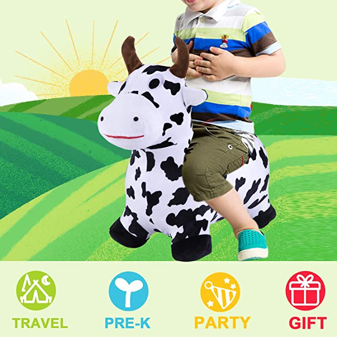 Bouncy Pals Cow Hopping Horse Ride On Animal Play Toys