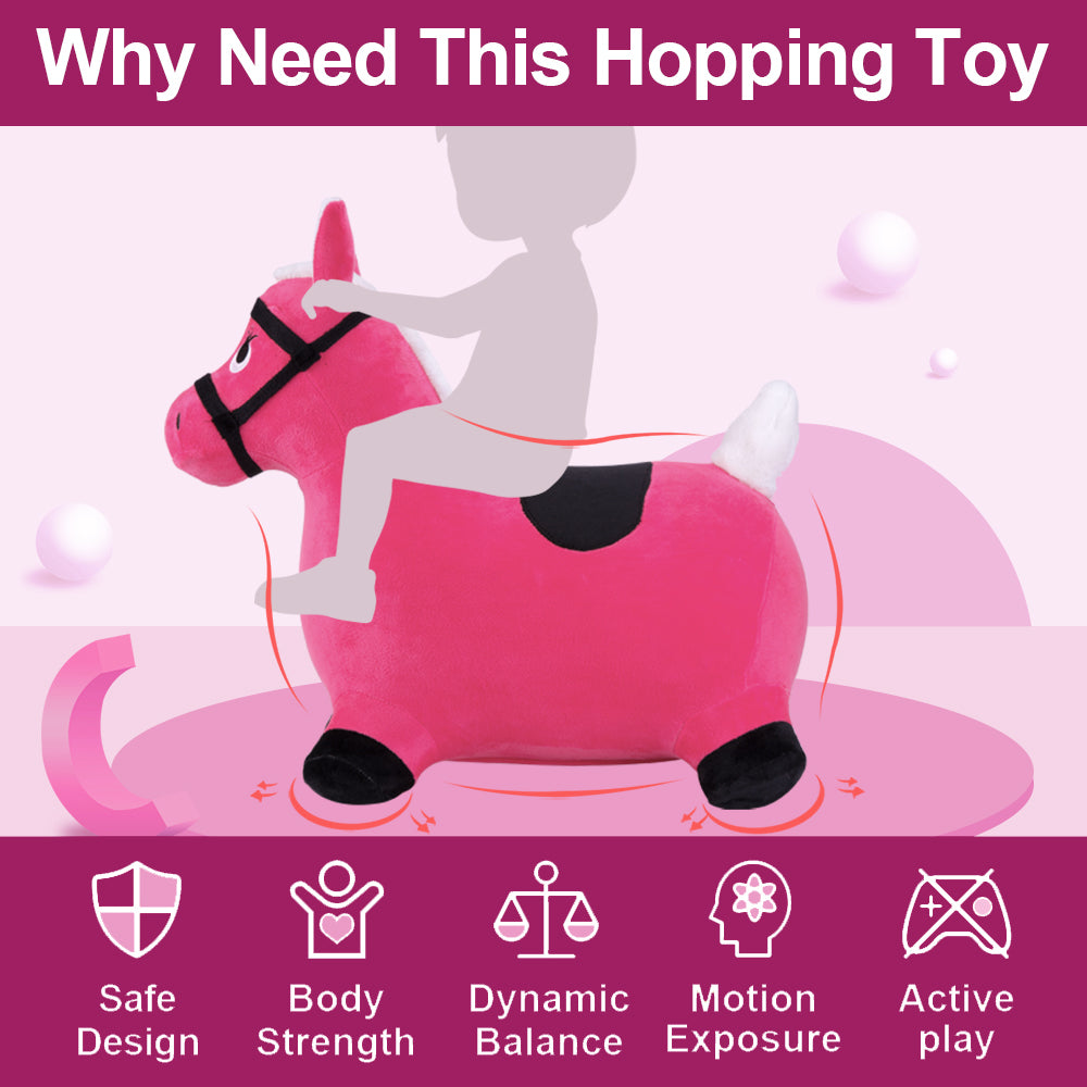 Bouncy Pals Pink Hopping Horse Inflatable Hopper Play Toys