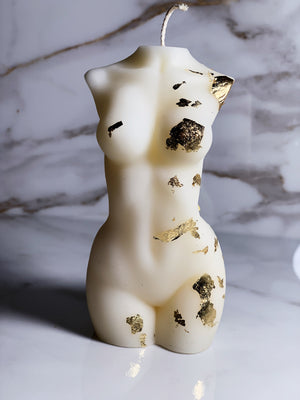 torso candles with golf flakes