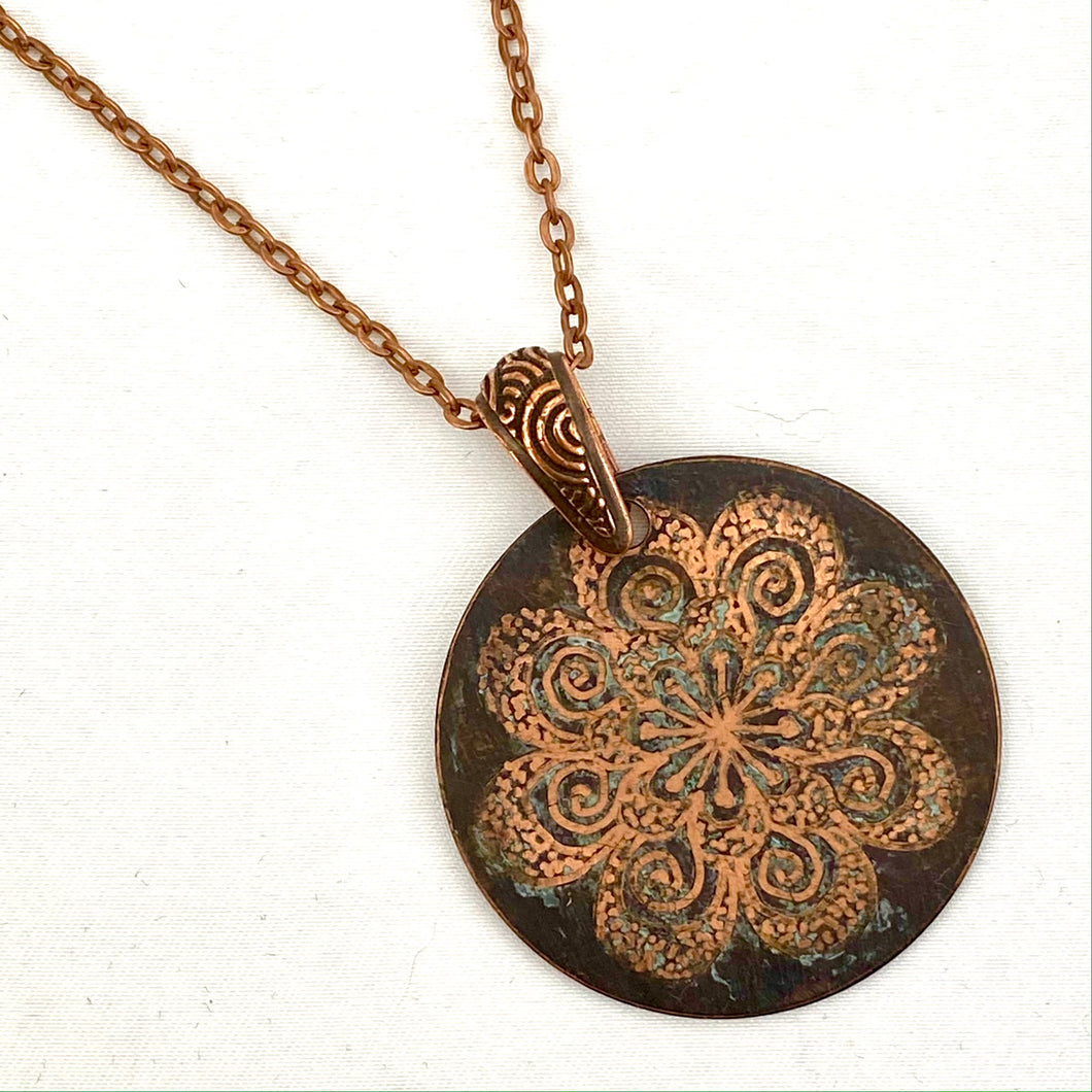Hand-Etched Copper Pendant
