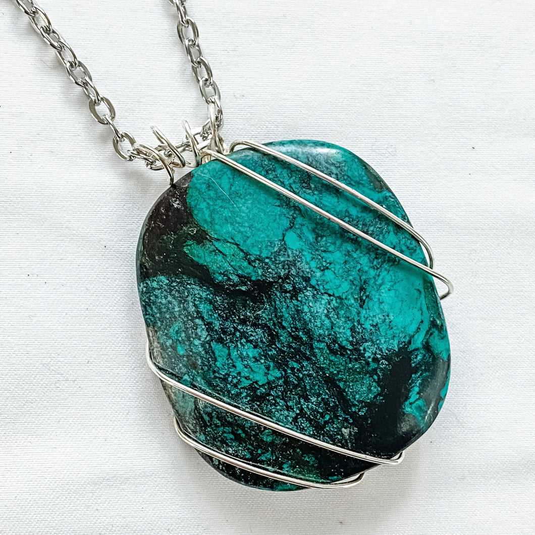 Turquoise Pendant Wrapped with Sterling Silver Wire