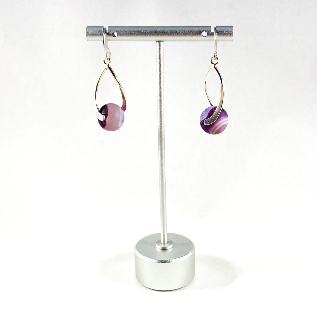 Sterling Silver Earrings with Purple Agate Beads