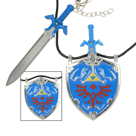 The Legend of Zelda - Link's Master Sword with Hylian Shield Necklace