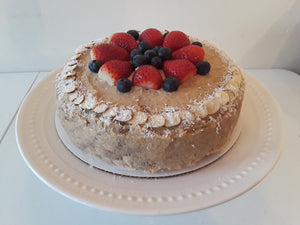 Vegan Banana Birthday Cake With Fruit Topping