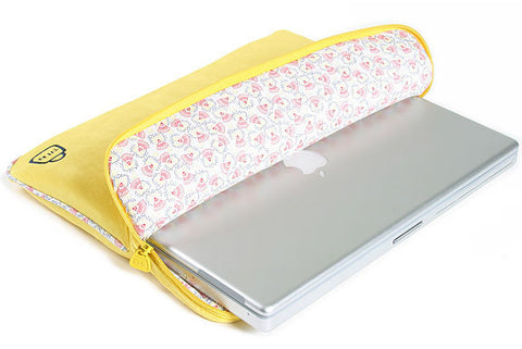 Velour Funk-tional Compartment Laptop Sleeve - Futuristic Yellow