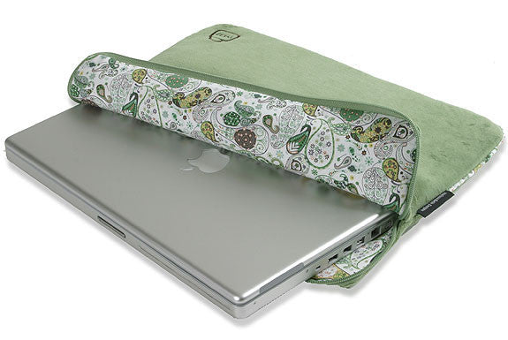 Velour Funk-tional Compartment Laptop Sleeve - Orchard Green