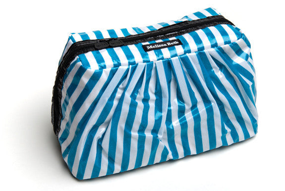 MINI Pretty Pleats Cosmetic Case - Teal Stripe