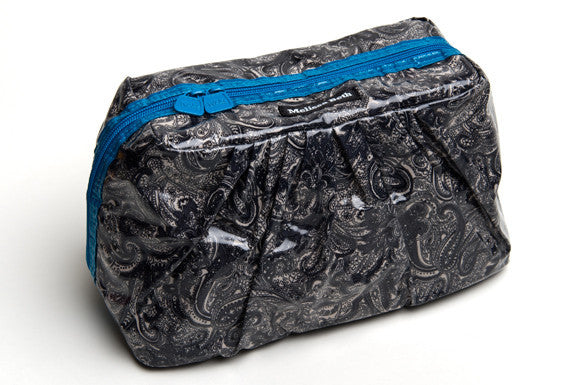 MINI Pretty Pleats Cosmetic Case  - Blue Paisley