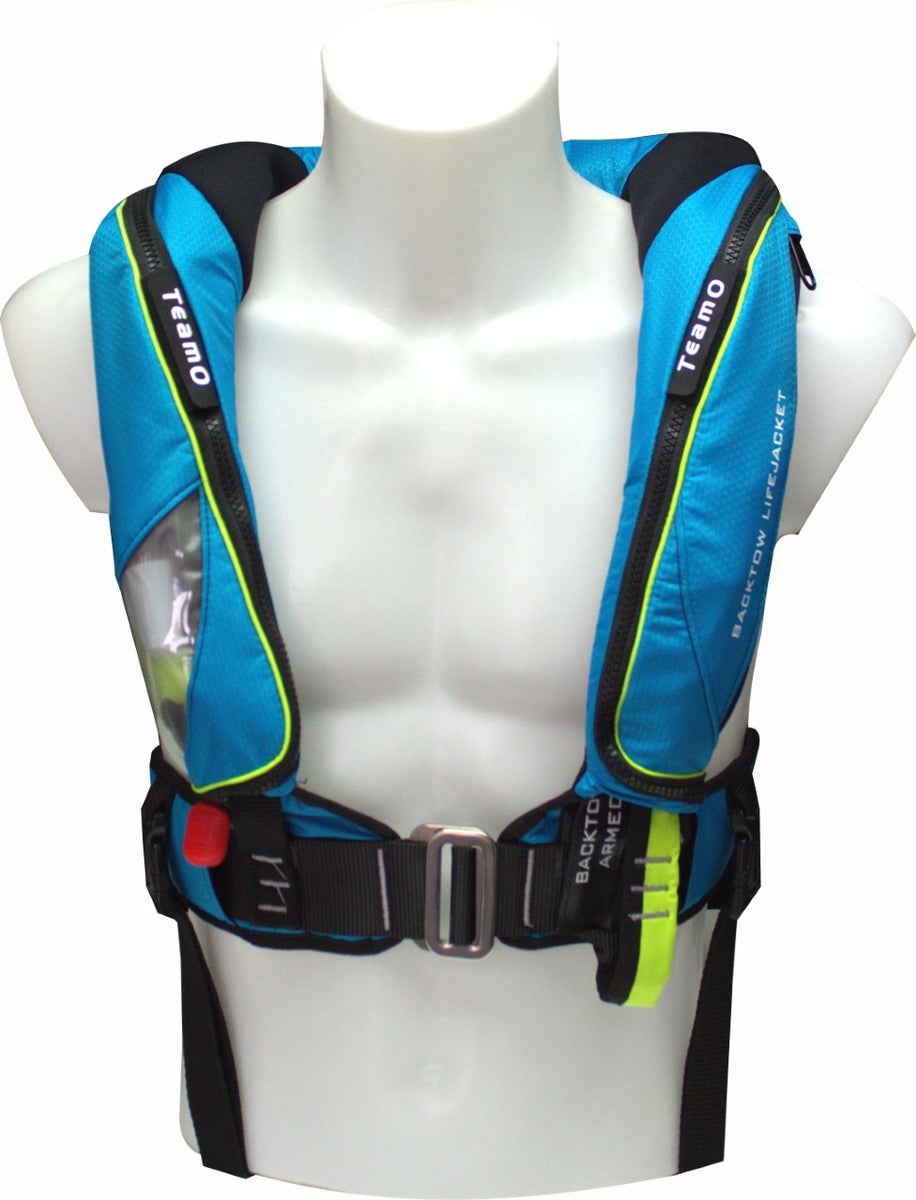A photo of a blue inflatable life jacket by teamo marine