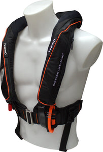 170N BackTow inflatable PFD in Black | Side angle