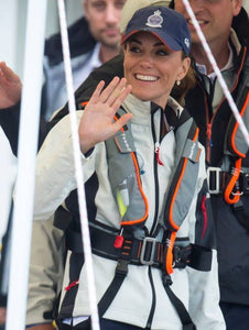 Kate Middleton in TeamO Grey inflatable PFD