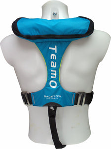 170N BackTow inflatable PFD in blue from back