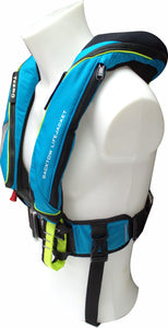 170N BackTow inflatable PFD in blue side angle