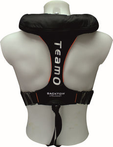 170N BackTow inflatable PFD in Black | Back Angle