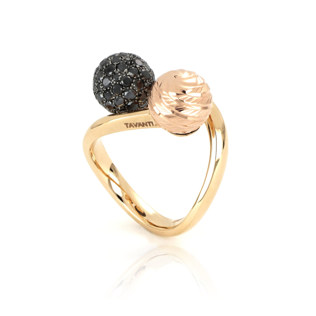 Video Anello Universo Due Sfere Oro & Diamanti Rosso/Nero