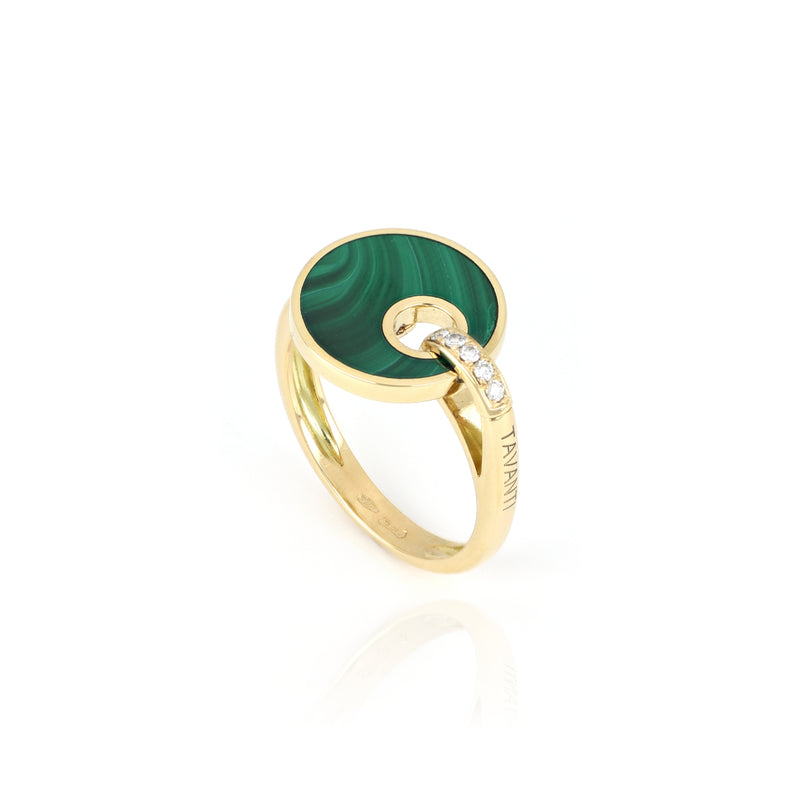 Anello Giove Malachite E Diamanti