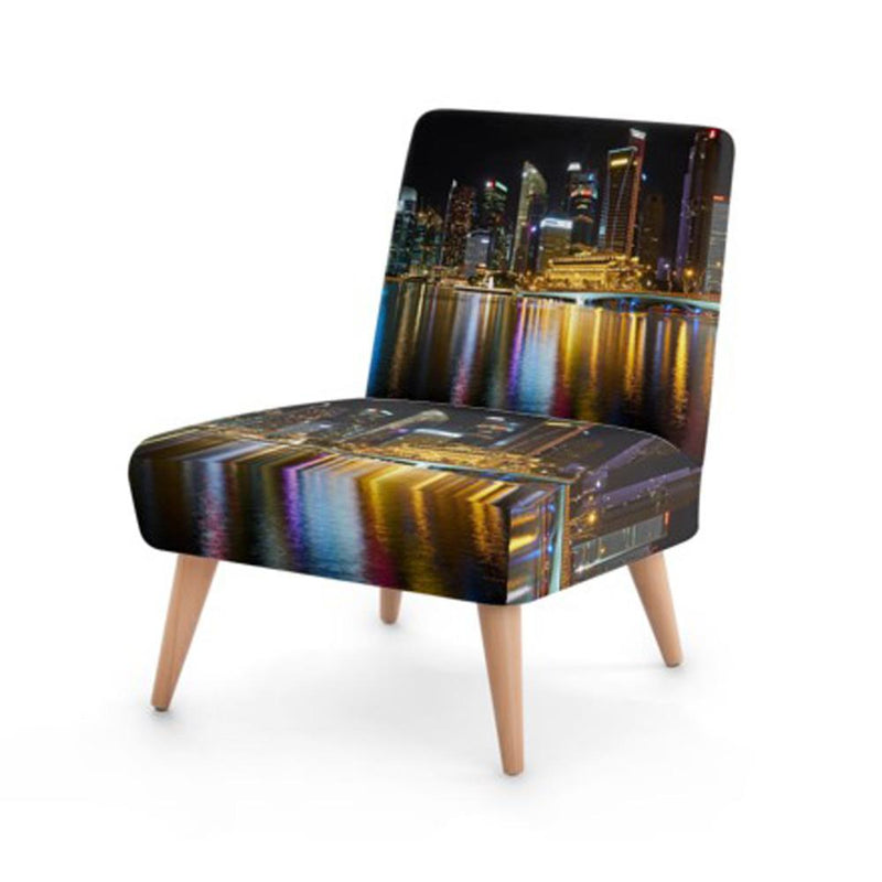 Modern City Print Accent Occasional Chair