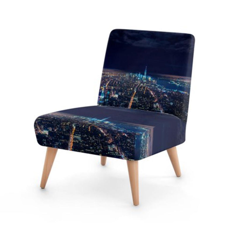 Navy Modern Skyline Print Accent Occasional Chair