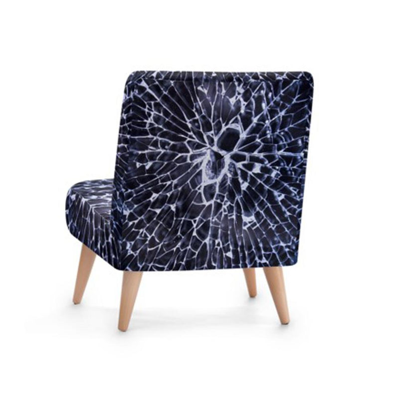 Dark Cracked Glass Print Accent Occasional Chair