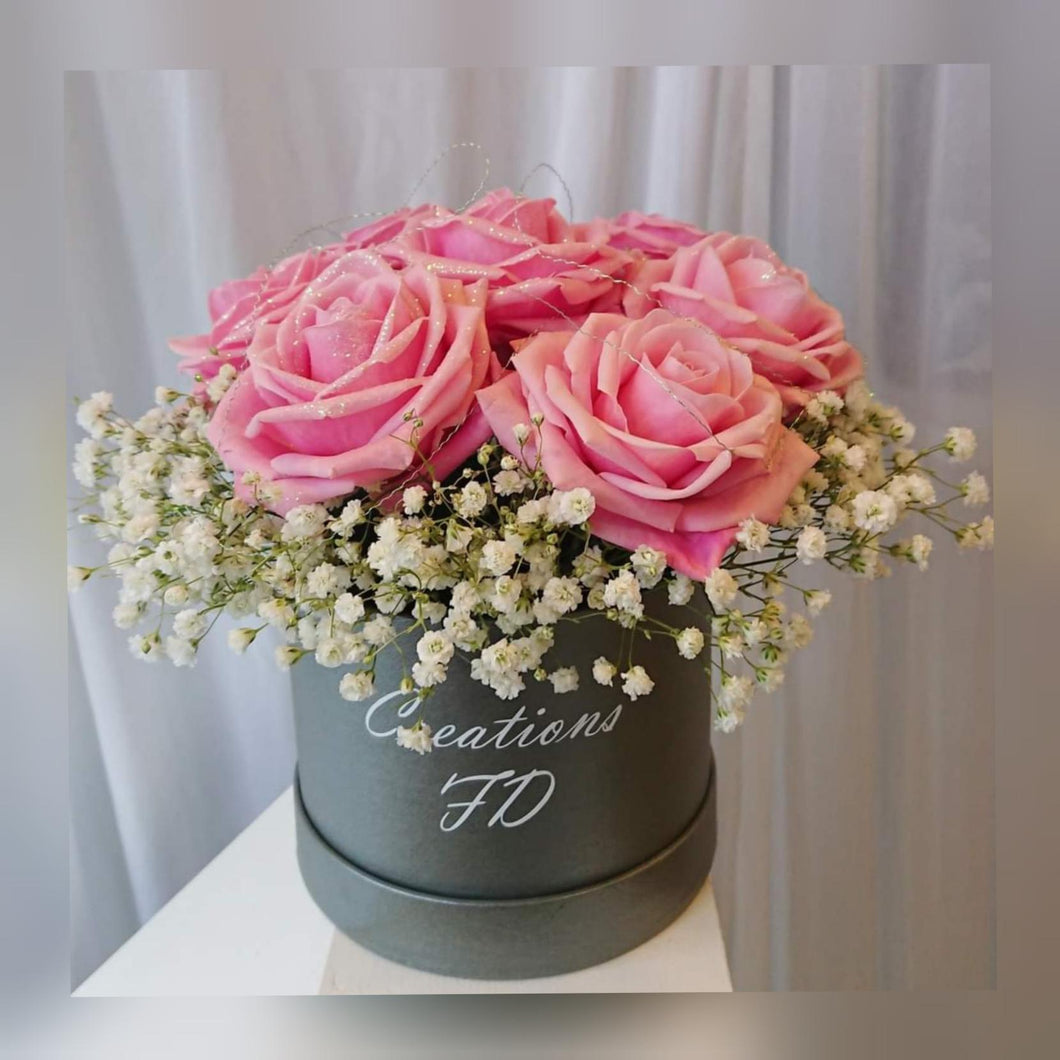 Pink rose hat box