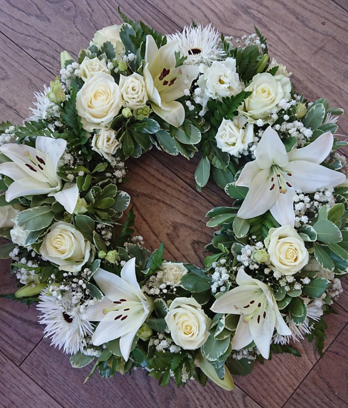 White Lily and rose wreath