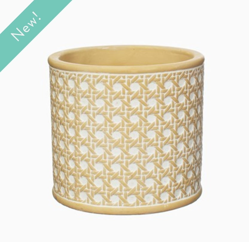 Woven rattan style planter