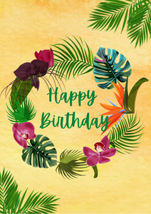 Tropical 'Happy Birthday' card