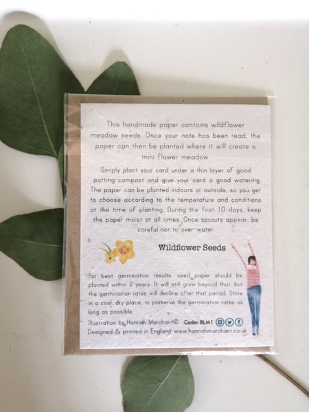 'Thank you for looking after the cat' seed card