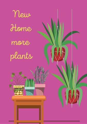 'New home more plants' greetings card