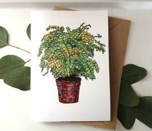 Maidenhair fern textiles print greetings card