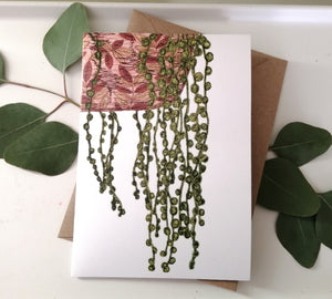 String of pearls textiles print greetings card