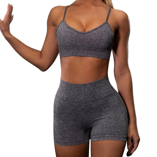 2 Piece Crop Top Sport Bra