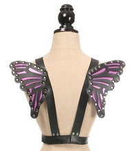 Load image into Gallery viewer, Daisy Corsets Black/Purple Vegan Leather Butterfly Wings