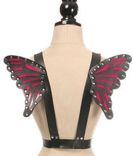 Load image into Gallery viewer, Daisy Corsets Black/Fuchsia Vegan Leather Butterfly Wings